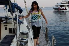 Avanti walking along the boat